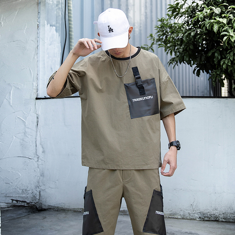 Summer Short Sleeve T-Shirts+Shorts Trouers Two Piece Set Men'S Sportwear Pants Clothes Tracksuit Hip Hop Plus OverSize 5XL
