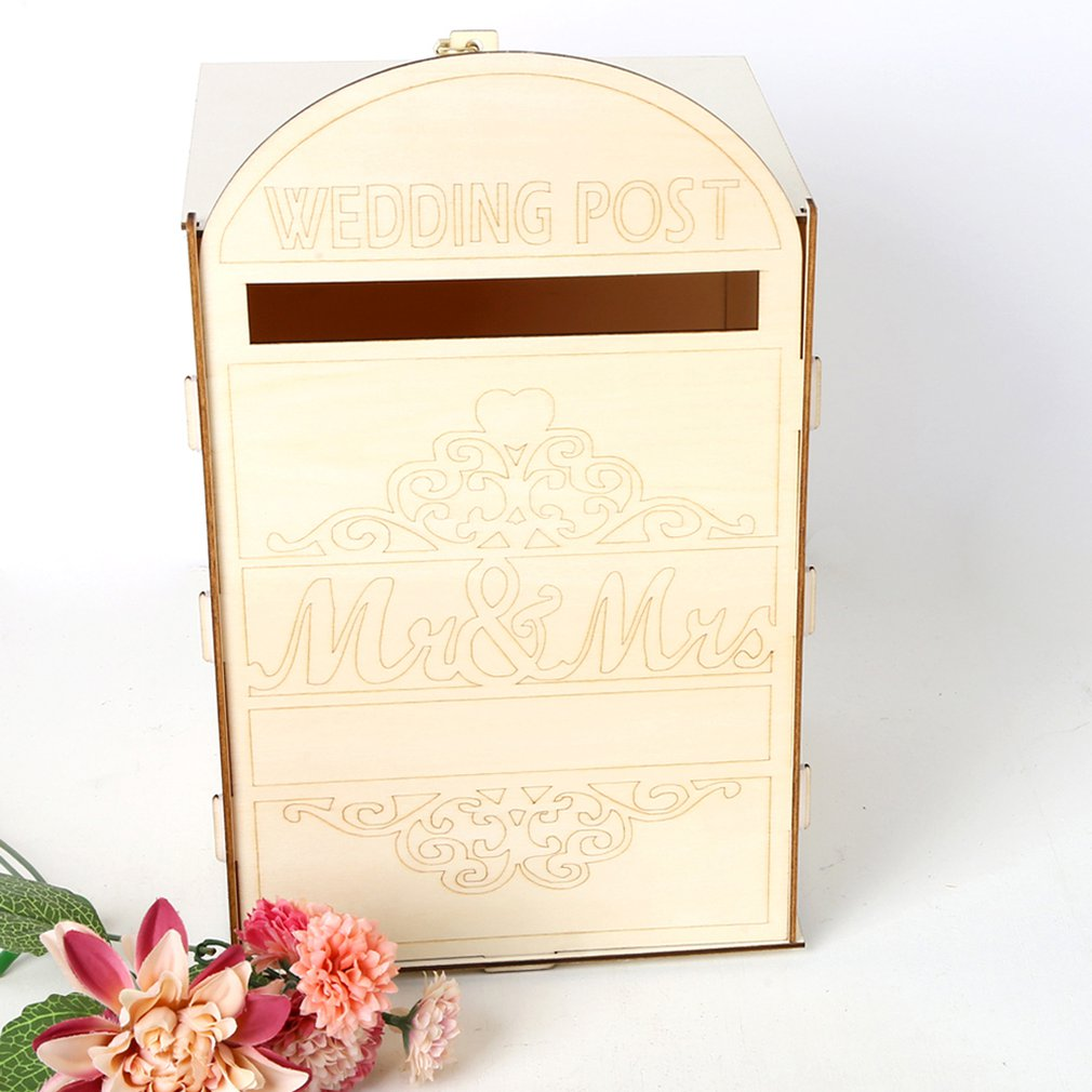 Wooden Wedding Supplies Mailbox Royal Post Style Decoration Wooden Wedding Creative Letter Box Crafts Decoration