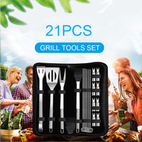 21pcs BBQ Tools Set Stainless Steel Grill Accessories Spatula Fork Basting Oil Brush for BBQ Barbecue Accessories for Grilling