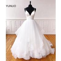 YUNUO Glamorous Custom White Prom Dress Spaghetti Straps Tiered Tulle Floor Length Evening Formal Dresses for Women Gowns