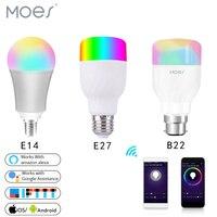 Wifi 스마트 전구 지능형 다채로운 led 램프 7 w rgbw app 원격 제어 alexa google 스마트 홈 e27 e14 b22