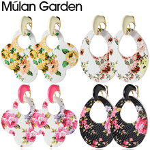 цена на M&G Double Side Faux Leather Earrings Hollow Flower Print Pendant Water Drop Earring for Women Jewelry Accessories Hot Sale Gift