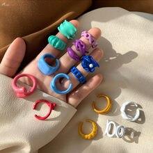 AOMU 1PC 2020 Coréia Moda Colorida Drip Glaze Oco Geométrica Irregular Presentes Anéis para As Mulheres Do Partido Jóias Anel Aberto