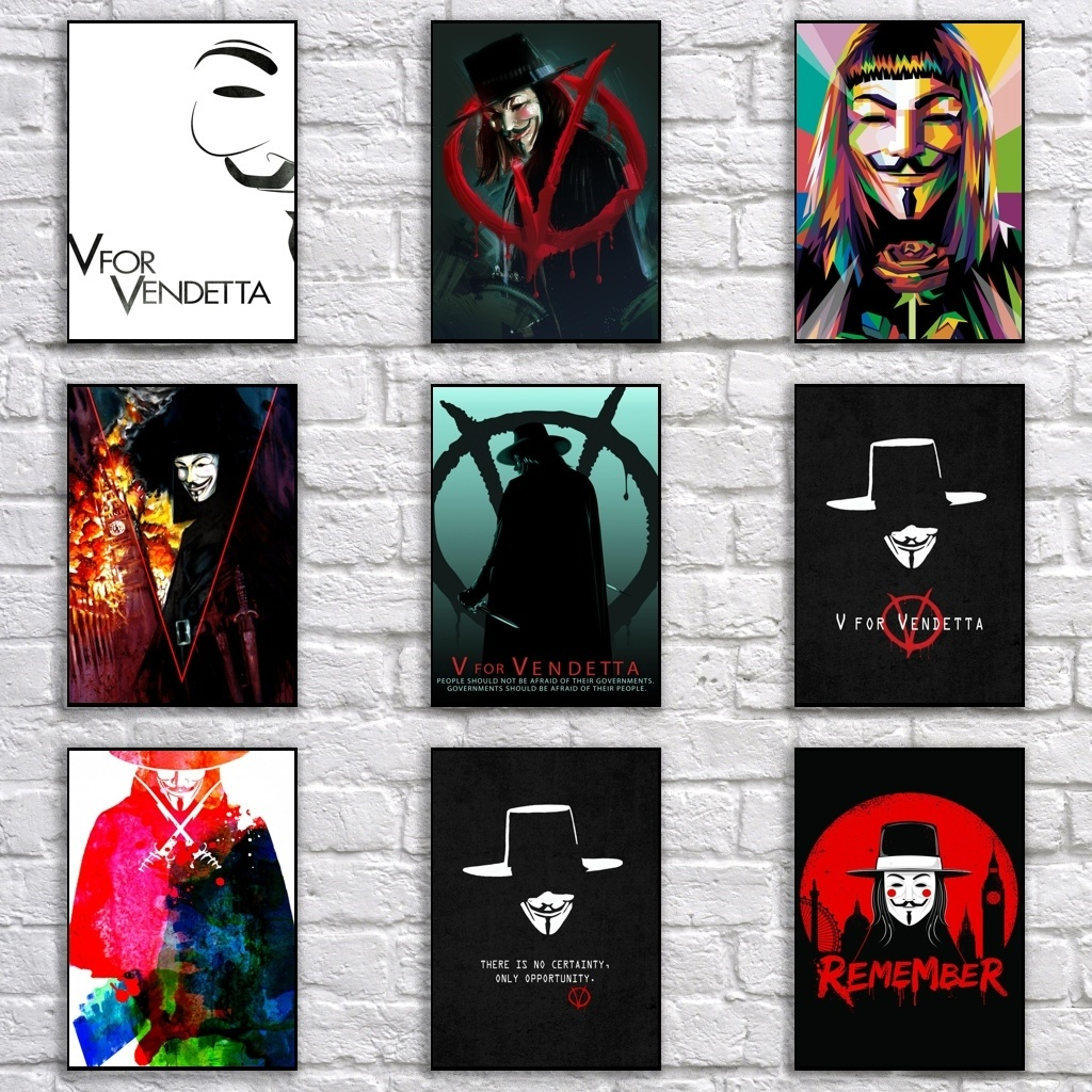 V for Vendetta Poster Retro Whitepaper <font><b>Democratic</b></font> Revolution Poster Abstract Pop Art Painting Fancy Wall <font><b>Sticker</b></font> image