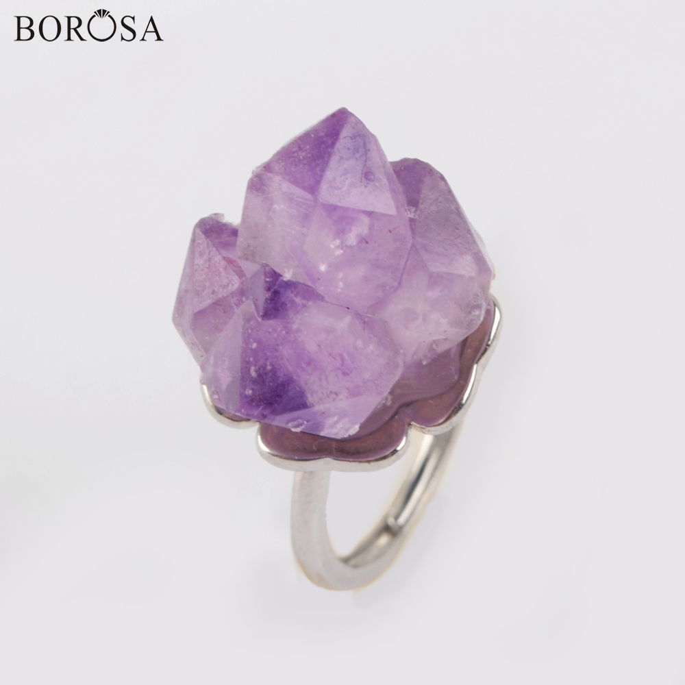 BOROSA New <font><b>Raw</b></font> Natural Amethysts <font><b>Crystal</b></font> <font><b>Rings</b></font> Silver <font><b>Ring</b></font> Engagement <font><b>Ring</b></font> Natural Purple Quartz <font><b>Rings</b></font> for Women Jewelry ZG0435 image