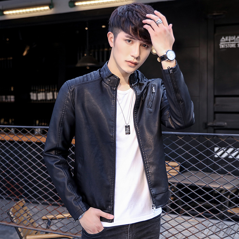 2017 Autumn And Winter New Style MEN'S Leather Coat Youth Leather Jacket Stand Collar Plus Velvet Trend Short Men's Model Leathe