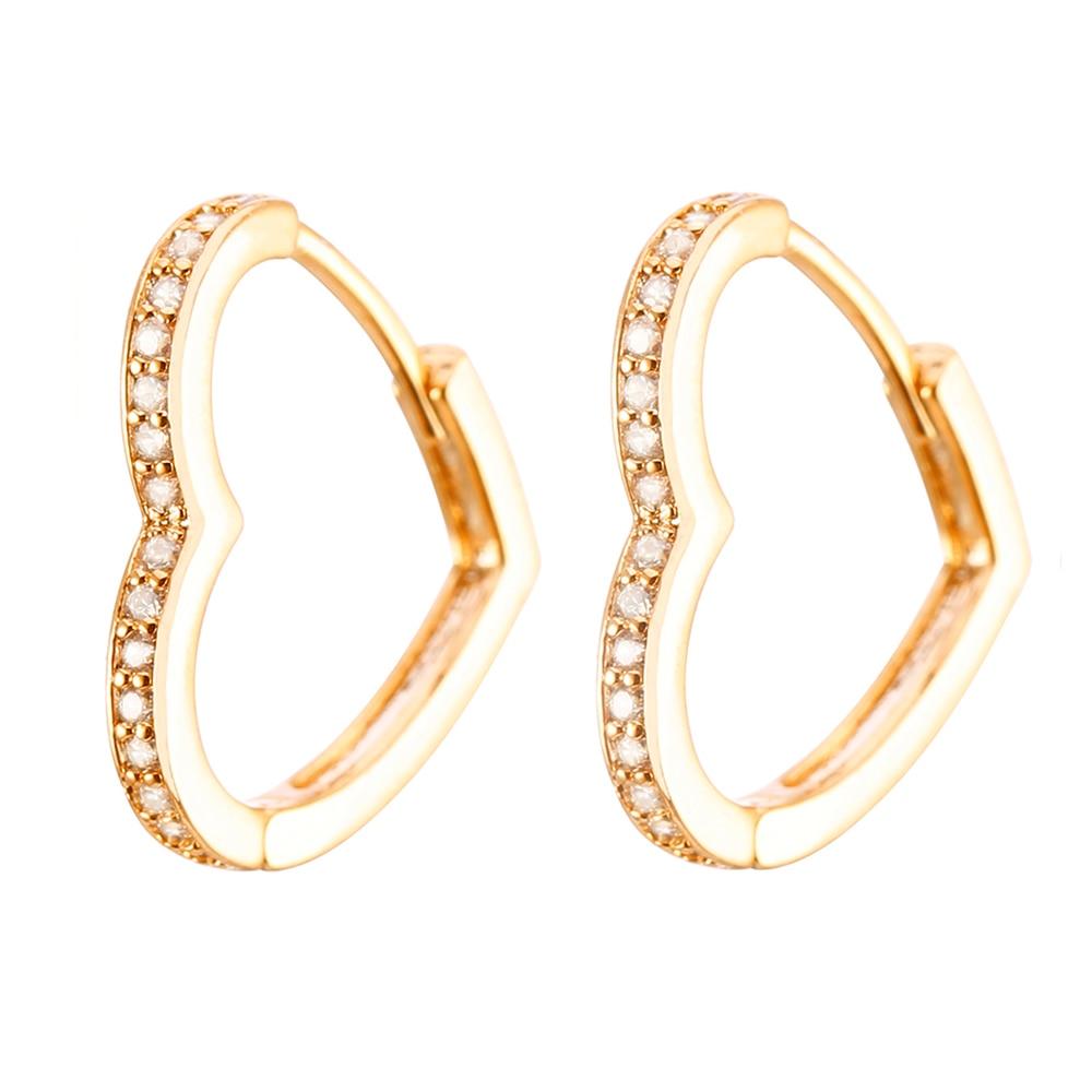 Женские серьги в форме сердца CZ серьги-кольца с цирконом золотые Серебристые серьги маленькие простые женские модные ювелирные изделия под...