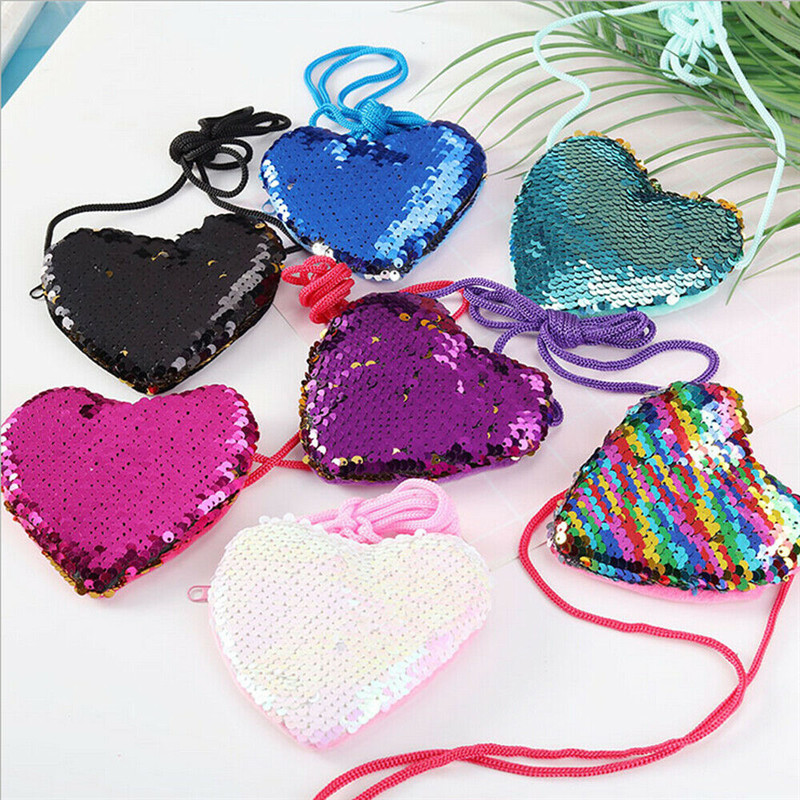 New Arrival Sequins Loving Heart Kids Coin Purses Girls Mini Messenger Bag Shoulder Bag Ladies Small Sequin Coin Purse Child Bag