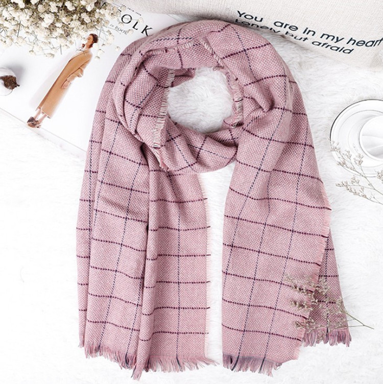 Korean-style Autumn And Winter New Style Small Square Plaid Small Pattern Scarf Faux Cashmere Small Plaid Scarf Shawl