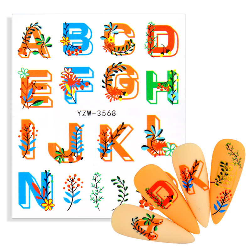 Colorful Flower ABC Letter Decals Nail Art Stickers English Old Font Black Number Tattoo Nail Design Water Sliders Manicure Wrap