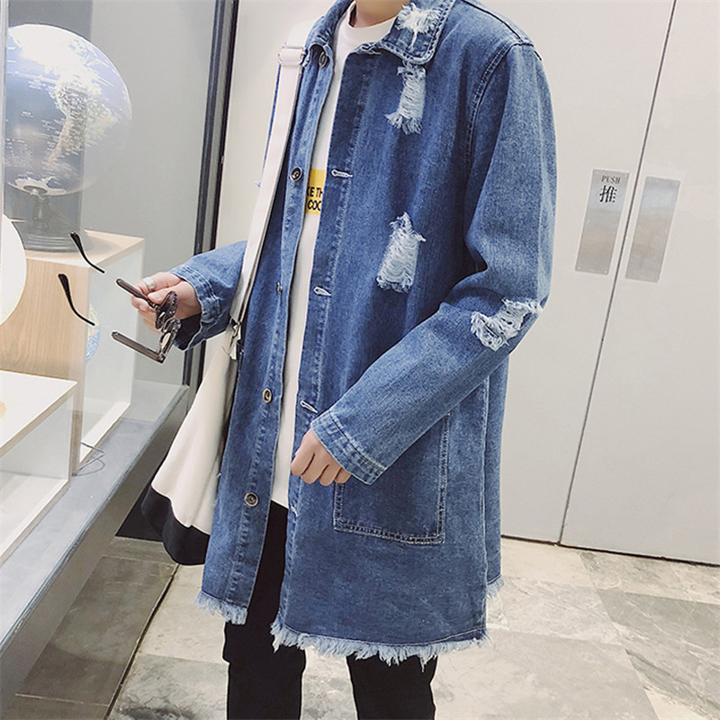 Large Size Denim Coat Men Medium Long Trench Coat 2019 Spring New Hole Outerwear Single-Breasted Men's Denim Windbreaker JIA414