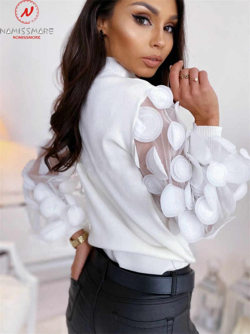 Delle Donne di Modo di Autunno Della Molla T-Shirt Dot Stampa Decorazione Del Merletto Vedere Attraverso O-Collo Del Manicotto di Soffio di Colore Solido Sottile Pullover Top