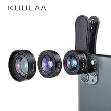 KUULAA 4K HD 핸드폰 카메라 렌즈 키트 3 in 1 와이드 앵글 렌즈 매크로 어안 렌즈 For iPhone 11 Pro Max 화웨이 P20 Pro 삼성