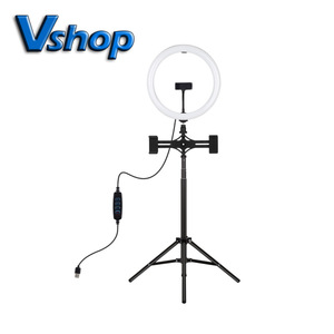 Image 1 - 1,65 m Stativ Montieren Dual Telefon Halterung 11,8 zoll 30cm USB 3 Modi LED Ring Vlogging Video Licht Live broadcast Kits