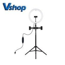 1.65m Tripod Mount Dual Phone Bracket 11.8 inch 30cm USB 3 Modes LED Ring Vlogging Video Light Live Broadcast Kits