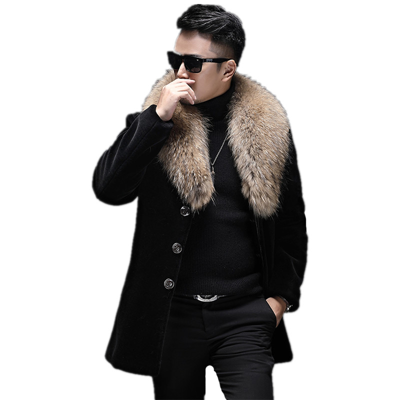 Real Fur Coat Men's Winter Jacket Real Sheep Shearling Fur Coats Raccoon Fur Collar Wool Coat Plus Size Chaqueta Hombre MY1653
