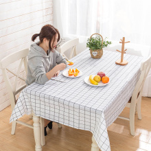 Waterproof Tablecloth Manteles Round Plaid-Pattern PVC Home-Decor Mat-Pad Simple