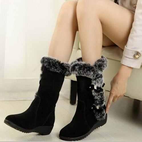 Mùa Đông 2019 Giày Da Ấm Nữ Ủng Giữa Bắp Chân Lông Thú Sang Trọng Mùa Đông Giày Giữ Ấm Boot Người Phụ Nữ Giày plus Size 42