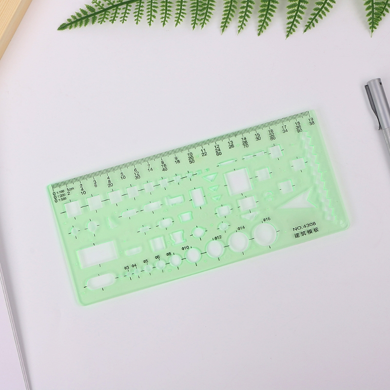 Building Design Construction Drawing Stencil Template Ruler Clear Green Plastic LX9A