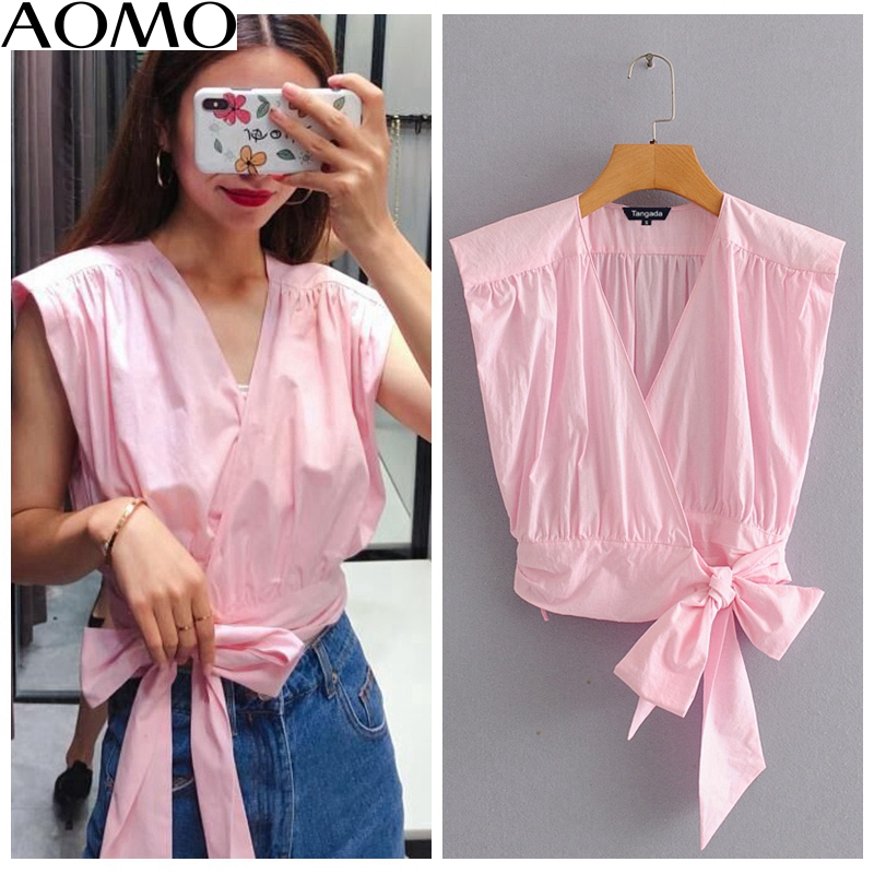 AOMO Fashion Women Solid Pink Pleated Cotton Shirts Bow Tie V-neck Female Casual Summer Tops Blouses 2L20A