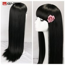 цена на Wignee Long Straight Black Synthetic Wigs With Bang for Black/White Women Hair Cosplay /Party /Costume Glueless Natural Hair Wig