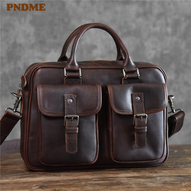 PNDME Vintage High Quality Genuine Leather Men's Briefcase Casual Multi-pocket Crazy Horse Cowhide Business Laptop Messenger Bag