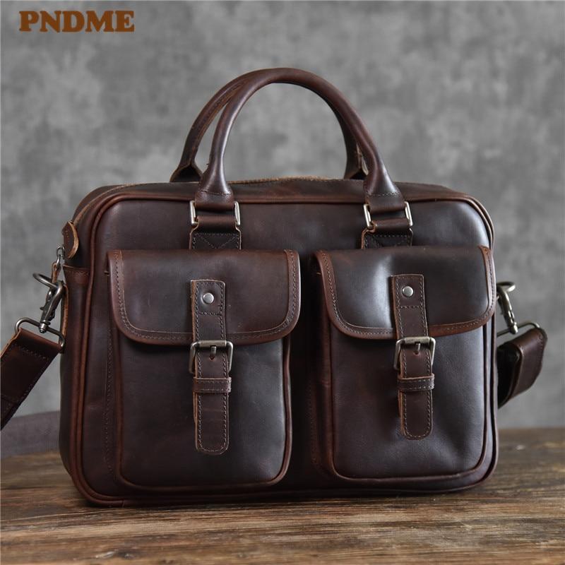 PNDME Vintage High Quality Genuine Leather Men's Briefcase Casual Multi-pocket Crazy Horse Cowhide Business Laptop Messenger Bag