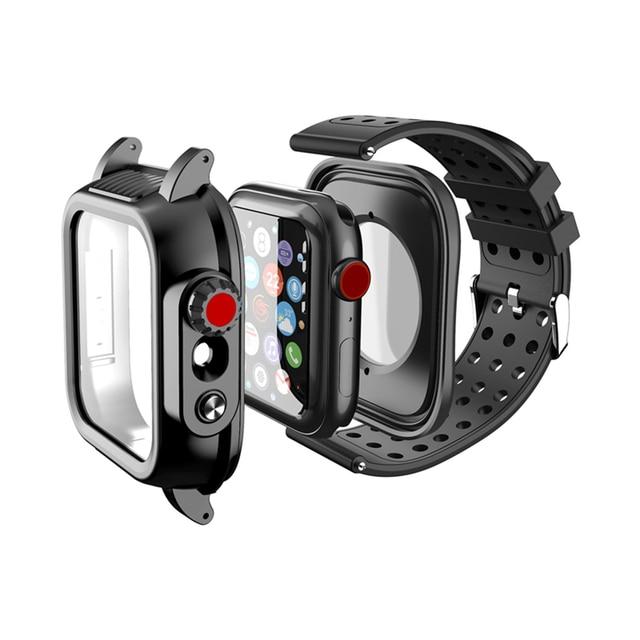 IP68 עמיד למים מקרה עם סיליקון רצועת עבור אפל שעון SE 6 5 4 40mm 44mm ספורט צמיד עבור iWatch 3 2 1 38mm 42mm להקה
