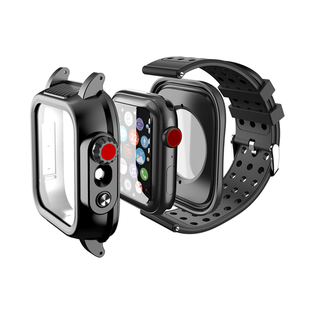 IP68 Waterproof Case with Silicone Strap for Apple Watch SE 6 5 4 40mm 44mm Sports Wristband for iWatch 3 2 1 38mm 42mm Band