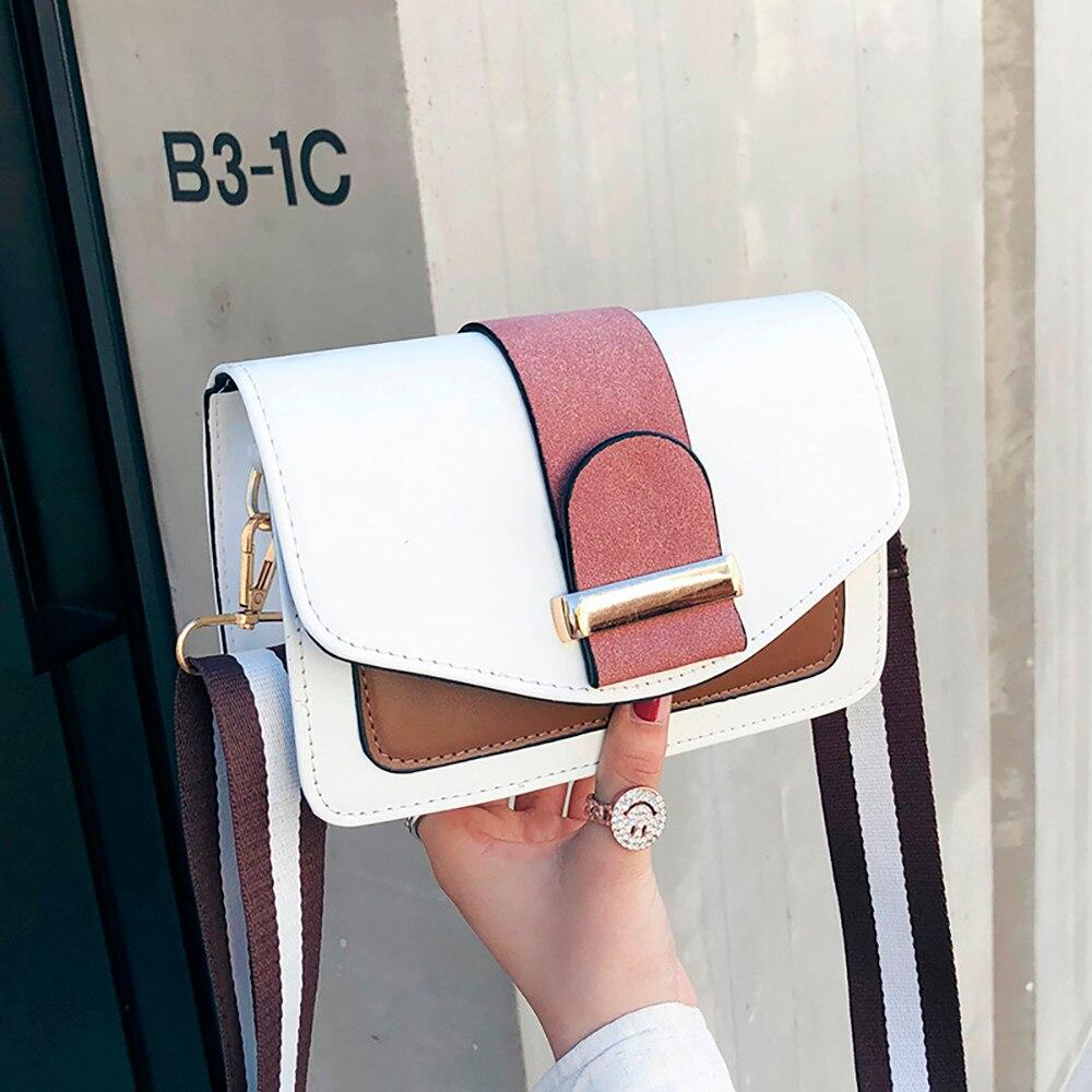 Japan Korean Style Women Small Bag Contrast Color Shoulder Bag Wild Messenger Bag PU Square Handbag Sac Main Femme 2019