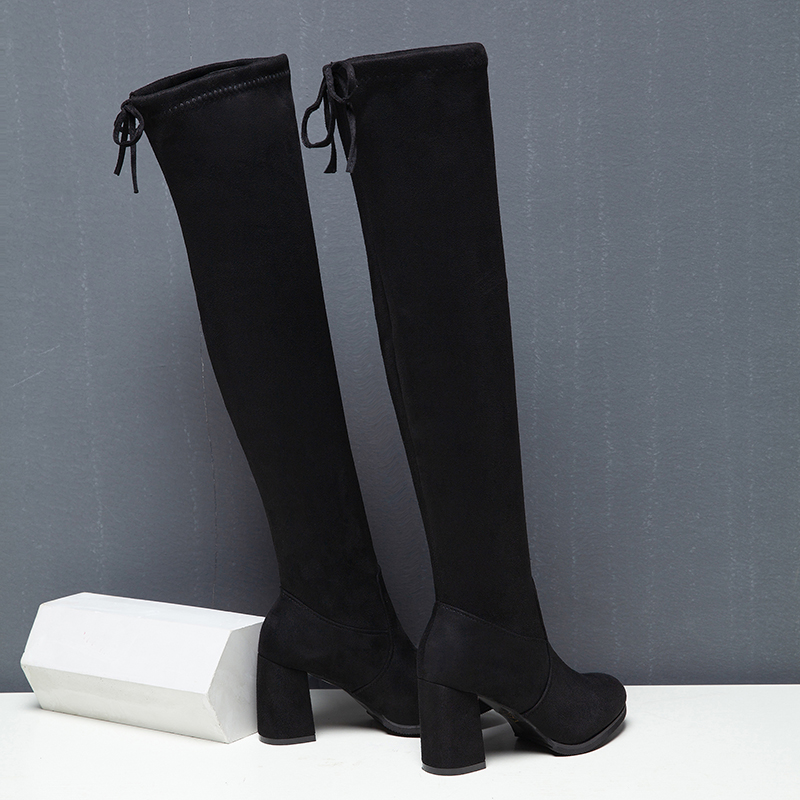 Thigh High Boots Fashion Over The Knee Boot Stretch Flock knee Heels Woman Shoes Black Lace Fleeces Warm