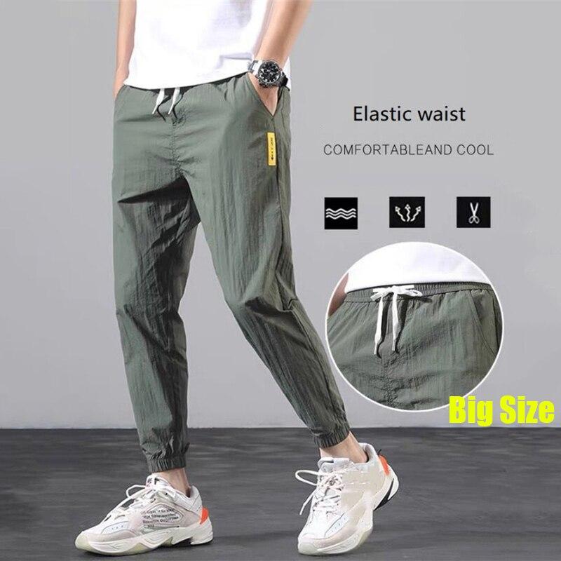 Новые ультратонкие летние повседневные брюки для мужчин, уличные спортивные светильник ные легкие удобные свободные крутые штаны для бега ...