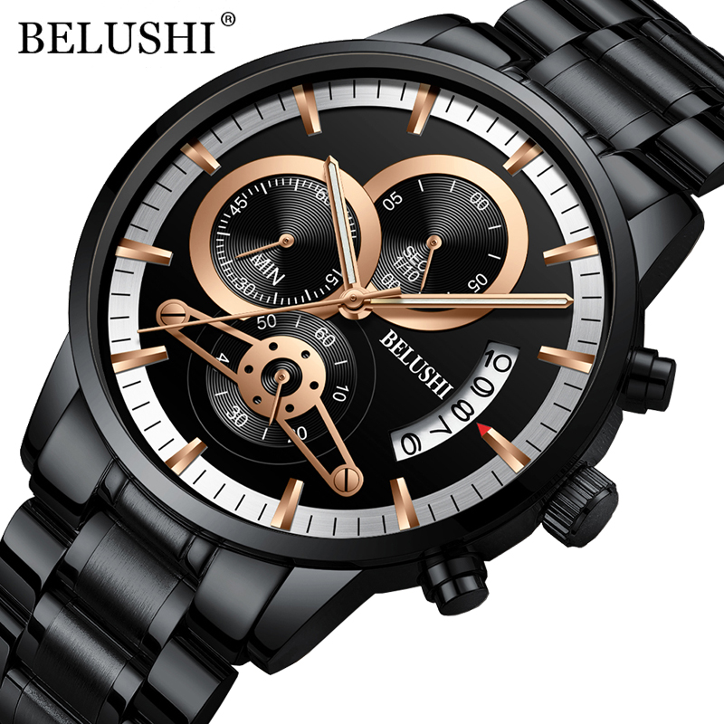 BELUSHI Watches Mens Waterproof Chronograph Stainless Steel Quartz Watch Men Luxury Brand Sports Wristwatch Relogio Masculino