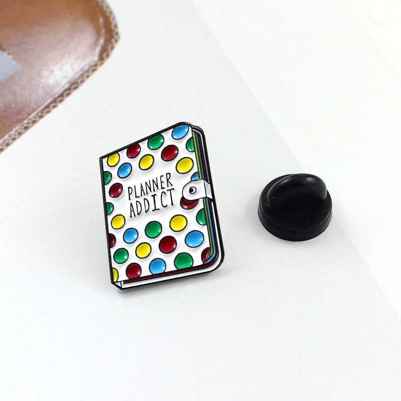 Arcobaleno Cuore di colore Matita Pennello Spilla pins Colourful 'DAMN FINE'Pie Caffè Pizza libro del fiore Dello Smalto Distintivi e Simboli per i Monili Delle Donne