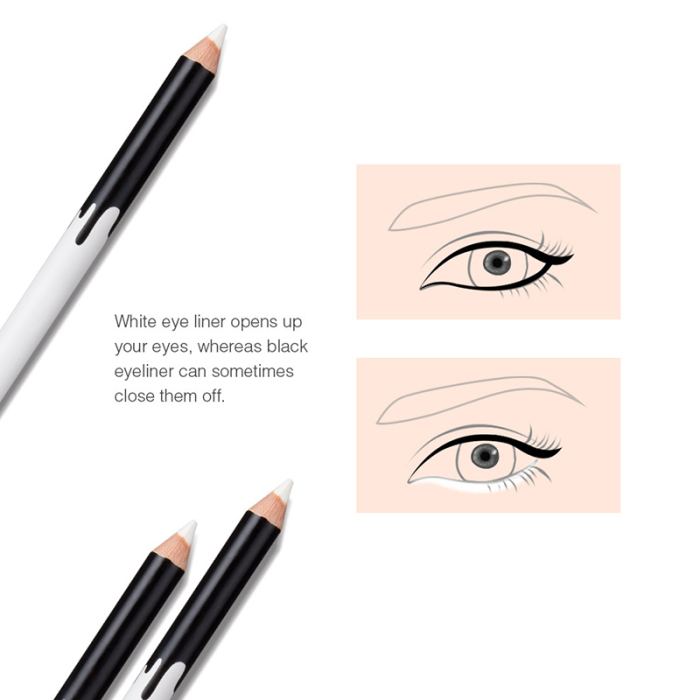 Delineador branco maquiagem suave fácil usar olhos