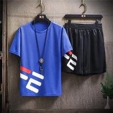 2020 Novo Conjunto De Esportes Verão 2pc Agasalho Curto Suor Camisa + Shorts Dos Homens Ajuste Magro Ocasional Dos Homens