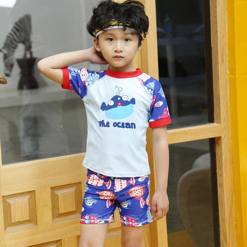 2018 New Style Split Type Two-Piece Send Swimming Cap Zipper Crew Neck Short Sleeve Shorts BOY'S KID'S Swimwear