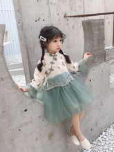 New autumn children clothing traditional Chinese flower embroidered Han style organza fluffy dress for girls