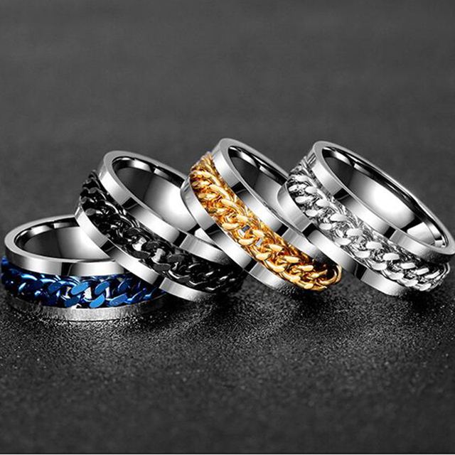 Letdiffery Cool Stainless Steel Rotatable Men Ring High Quality Spinner Chain Punk Women Jewelry for Party Gift 5