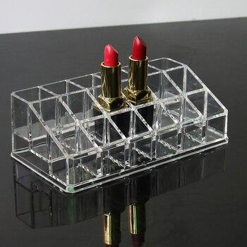Soporte de brillo de labio acrílico 18 ranuras pintalabios caja soporte de exhibición caja de almacenamiento de varios cosméticos maquillaje organizador pintalabios titular