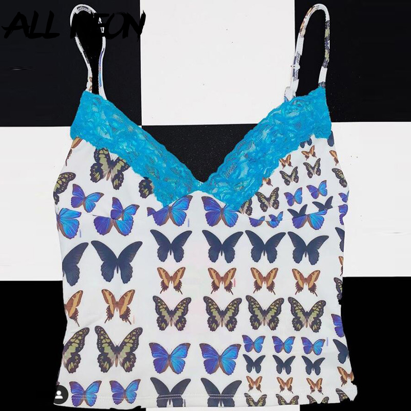 Fashion Print Cropped Tops Straped Lace V-neck Backless Butterfly Printing Tops Streetwear E Girl Outfits Sexy Summer Tops 2020