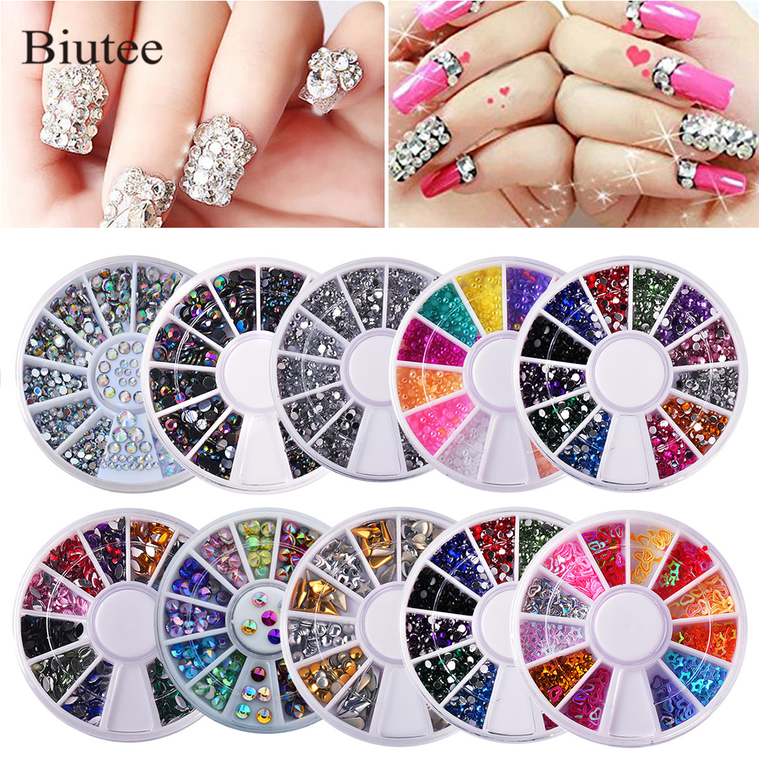 Biutee 10pcs/set  Nails Decoration Nail Art  Diamond Boxes Shiny Diamonds Acrylic Box Various Colors Nail Decoration Kit Nail 3D