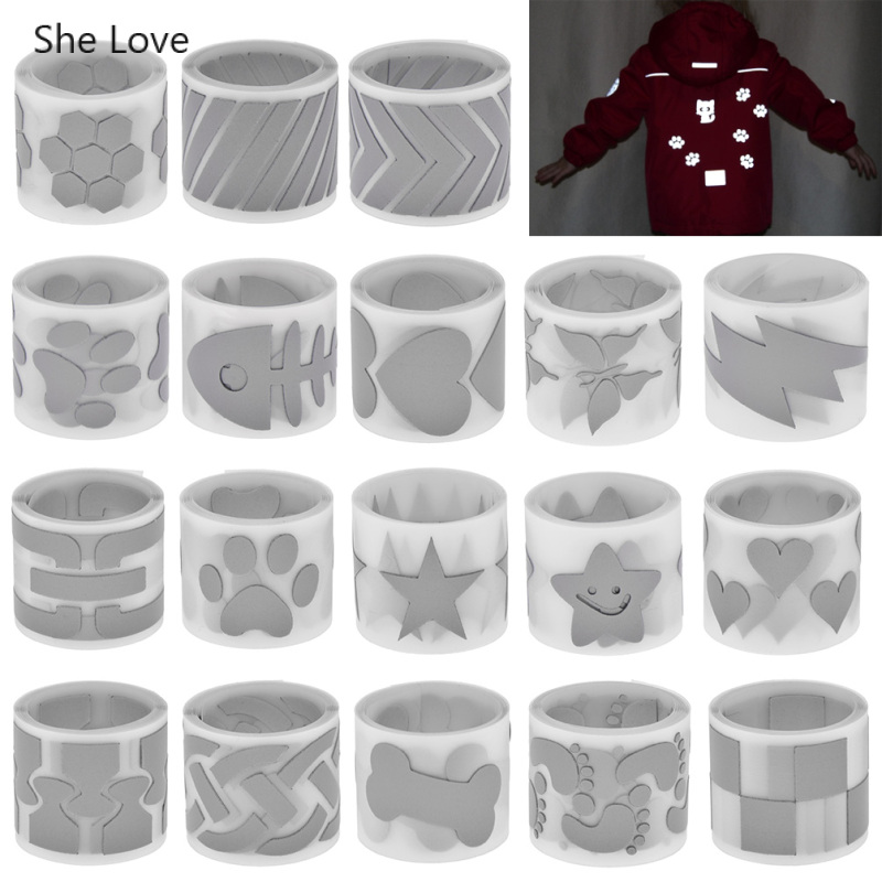 She Love 100x3cm Heat-transfer Reflective Tape Paper Sticker Vinyl Film DIY Silver Iron On Fabric Reflective Clothes Tapes