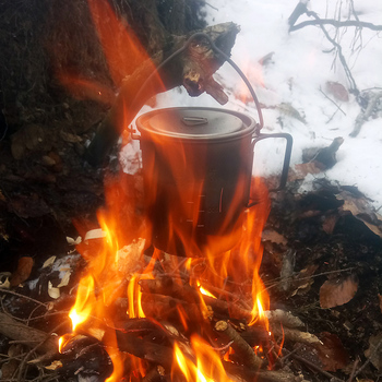 LIXADA Camping Titanium Water Mug Cookware Camping Outdoor Survival Coffee Pot Hiking Picnic Backpacking Camping Cookware Camp 4