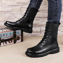 AURONET New Plus Size Martin Military Boots Genuine Leather Men Shoes Lace-up Fur Boots Men Autumn Winter Shoes erkek ayakkabi цены онлайн