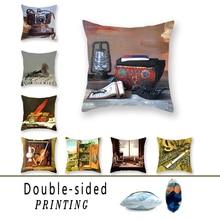 Sense-inspired Double-sided Polyester Cushion Cover Speaker Camera Kerosene Lamp Printing Sofa Square Pillowcase Decoration