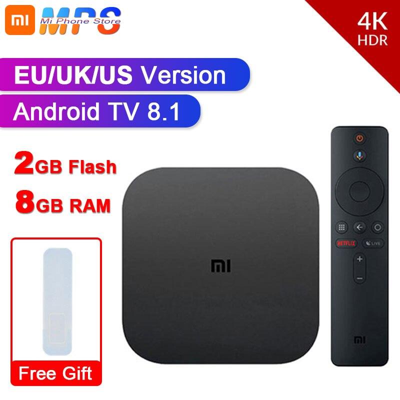 Original global xiao mi caixa de tv s 4 k hdr android tv 8.1 ultra hd 2g 8g wifi google elenco netflix iptv conjunto caixa superior media player