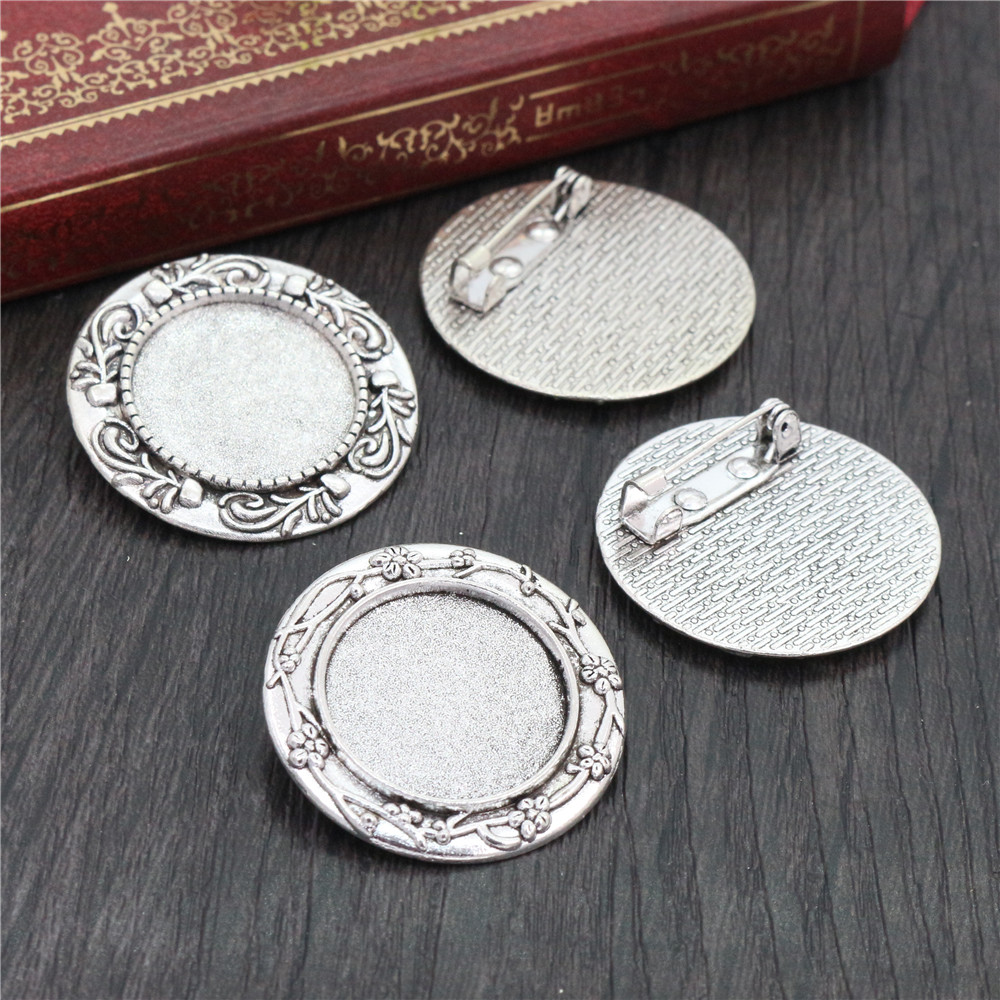 2pcs 20mm Inner Size Antique Silver Plated Colors Plated Brooch Pin Flower Style Cabochon Base Setting