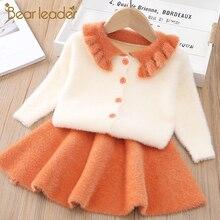 Bear Leader Girls Dress New Winter Princess Dress Long Sleeve Girls Clothes Top Coat+ Tutu Dress Kids Sweater Knitwear 2pcs