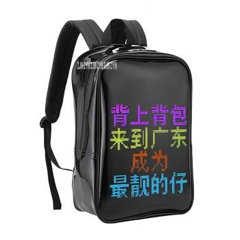 PU Transparent Fabric App Control Dynamic Led Display Screen Walking Billboard Shoulders Bag Text Editing Advertising Backpack